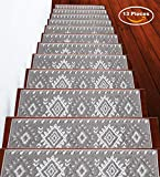 Stair Treads Traditional Collection Contemporary, Cozy, Vibrant and Soft Stair Treads | Gray &...