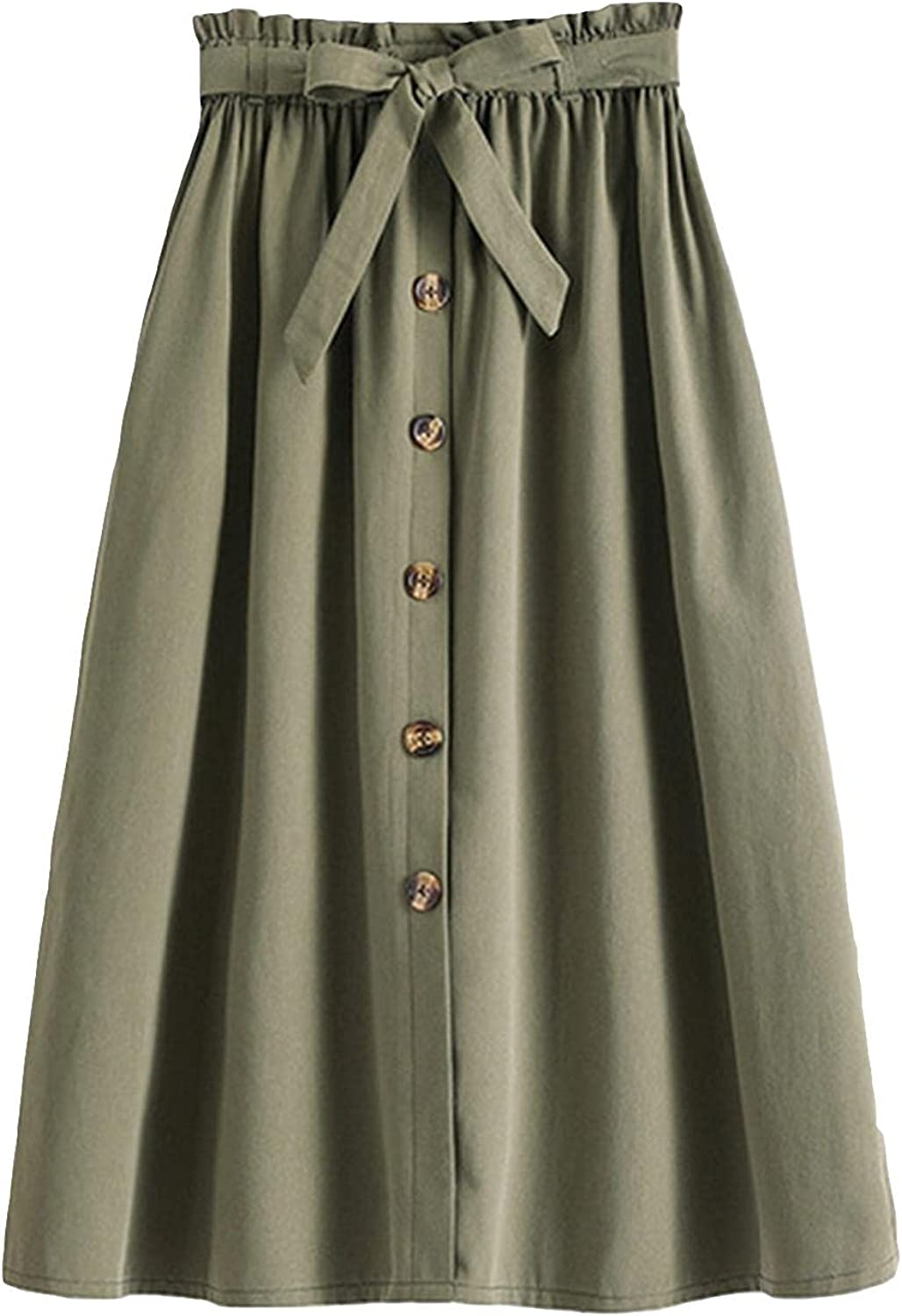 Women's Button Front Casual High Waist Belted Midi Flare Long Skirt