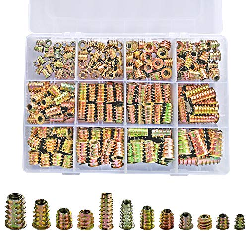 PGMJ 265 Pieces 12 Size M4/M5/M6/M8/M10 Metric Threaded Inserts Nuts Assortment Tool Kit for Wood Furniture Zinc Alloy Furniture Bolt Fastener Connector Hex Socket Screw Inserts