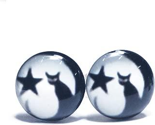 LilMents Cat Moon Star Unisex Mens Womens Stainless Steel Stud Earrings