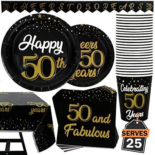 102 Artículos de Decoración para Cumpleaños Número 50 Accesorios Fiesta de Set de Platos, Vasos, Servilletas, Pancarta y Mantel, Accesorios para 25 Personas