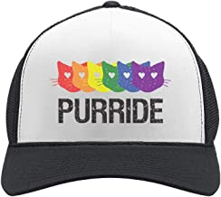 Purride Gay & Lesbian Pride Cat Lover Rainbow Flag Parade Trucker Hat Mesh Cap