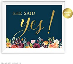 Andaz Press Wedding Party Signs, Navy Blue Burgundy Florals with Metallic Gold Ink, 8.5x11-inch, He Asked, She Said Yes! Engagement Save the Date Photoshoot Signs, 2-Pack, Colored Autumn Decorations