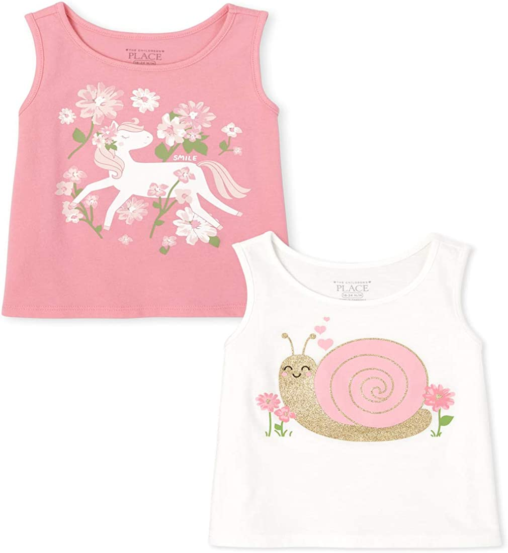 The Children's Place Girls' Graphic Tank Tops, Pack of Two