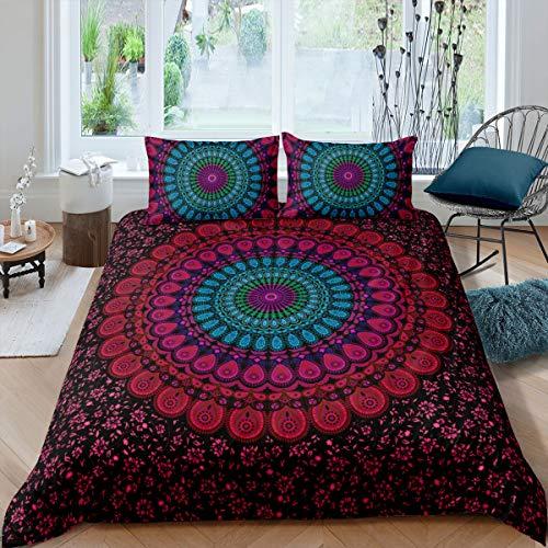 Mandala-Bettwäsche, Boho-Chic-Stil, Hippie-Bettbezug, luxuriös, weiche Mikrofaser, rot, lila und blaugrün, Mandala-Blumenmuster, Tagesdecke, Bettbezug mit Reißverschluss, 2 Kissenbezüge