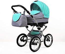 Cochecito de bebe 3 en 1 2 en 1 Trio Isofix silla de paseo Nostalgica Silver by SaintBaby Mint 2in1 sin Silla de coche