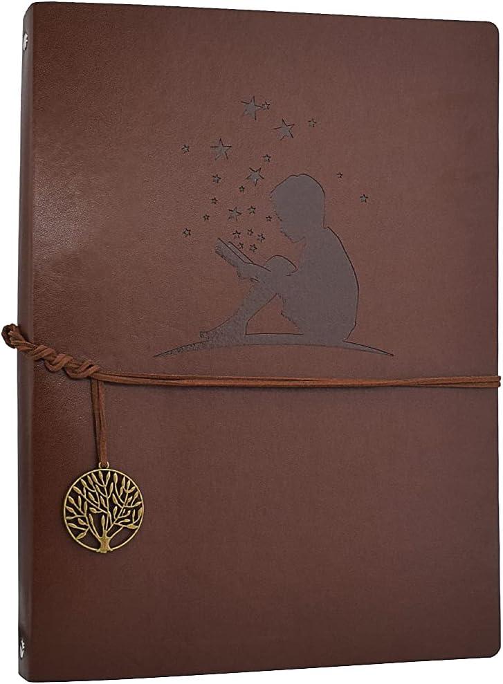 AIOR A4 Libreta Bonitas Cuaderno de Cuero Vintage Diario de Viaje Recargable Bloc de Notas Journal Sketchbook en Blanco, Regalo Original San Valentín Navidad cumpleaños Aniversario Boda (Niños)