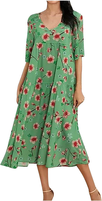 Sun Dresses Women Summer Women's Printed A-line Skirt Pullover V-Neck Short Sleeve Dress Womens Dresses