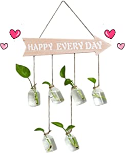Arrow Decor,Hanging Glass Planter,Wood Wooden Arrows Sign Wall Hanging Decor Terrarium Container,Glass Wall Plant Holder Hanger for Air Plants and Cuttings Water Propagation Station Indoor Decorations