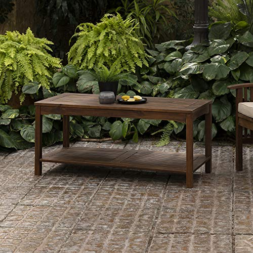 Walker Edison Furniture Company AZWCTDB Outdoor Patio Wood Rectangle Coffee Table All Weather Backyard Conversation Garden Poolside Balcony, Dark Brown