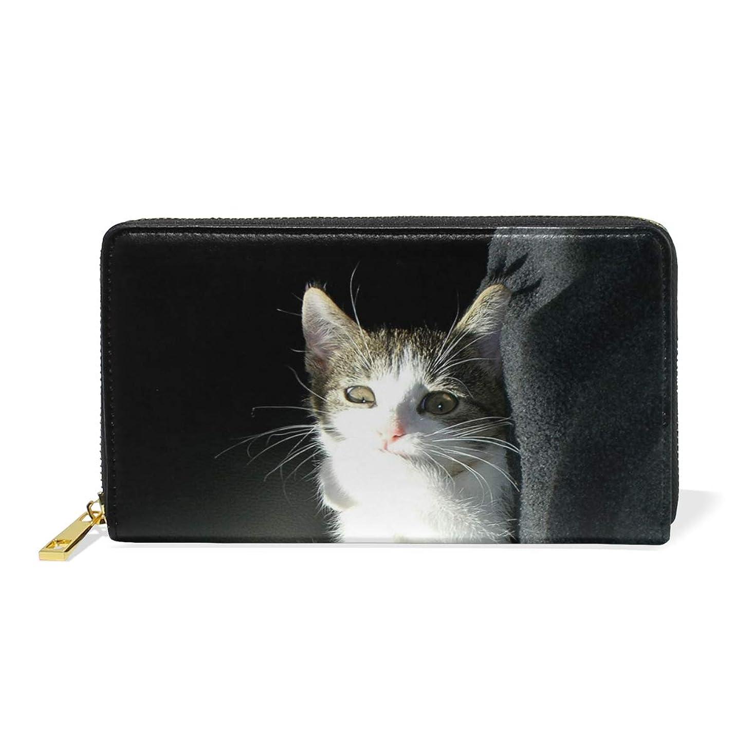 引き金通り高度なAyuStyle 財布 長財布 レディース メンズ PU レザー ファスナー 小銭入れあり お札入れ カード入れ 二つ折り 大容量 可愛い 個性的 猫柄 ネコ 写真