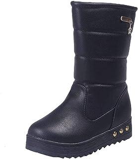 ZOSYNS Sneeuwlaarzen voor dames, katoen, lange laarzen, warm gevoerd, modieus, casual, comfortabel, antislip, winterlaarze...
