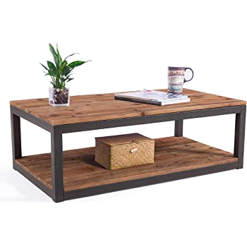 Care Royal Vintage Industrial Farmhouse 43.3 inches Coffee Table with Storage Shelf for Living Room, Accent Cocktail Table, Real Natural Reclaimed Wood, Sturdy Rustic Brown Metal Frame, Easy Assembly