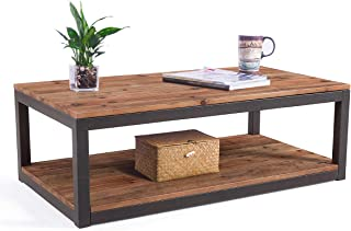 Care Royal Vintage Industrial Farmhouse 43.3 inches Coffee Table with Storage Shelf for Living Room, Accent Cocktail Table, Natural Solid Reclaimed Wood, Sturdy Rustic Brown Metal Frame, Easy Assembly