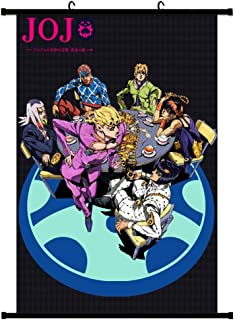 Bowinr JoJo's Bizarre Adventure Golden Wind Wall Scroll Poster, Japanese Anime No Fading Art Print Fabric Painting Poster for Home Decor(L-40x60cm Style 01)