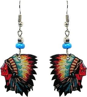 Feather Headdress Native American Indian Dangle Earrings