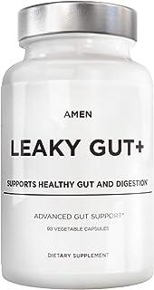 Amen Leaky Gut Supplements - Advanced Formula with Bioavailable L Glutamine, Zinc, Turmeric, Licorice Root - Bowel and Stomach Probiotics & Fermented Prebiotics - Vegan, Non-GMO - 90 Capsules