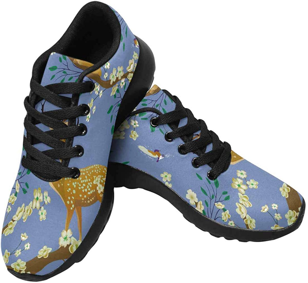 INTERESTPRINT Flowering, Flying Birds and Sika Deer Womens Running Shoes Lightweight Sneakers Athletic Tennis Sport Shoes