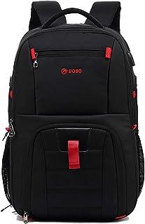 Mochilas Casual Grande Bolsas Escolares con USB Daypacks Hombre Bolsos Mochila para Viaje Cámping Excursionismo Senderismo Multiusos Mochila a Diario Impermeable Nailon Negro