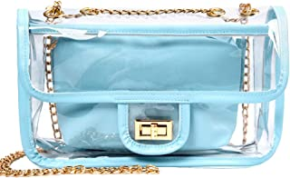 Clear Purse, iSPECLE Stadium Approved Clear Bag with Chain Turn Lock Shoulder Bags Transparent Women Crossbody Bag Baby Blue