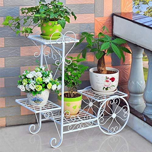 Planta del Soporte del Metal Estantes Alta Flor De Baja Planter Rack De Almacenamiento Organizador De Visualización De La Cubierta Al Aire Libre Jardín Balcón (3-Tier 4 Ollas),Blanco,Small
