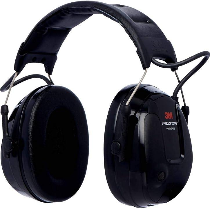 Cuffia protettiva, 26 db, nero, coppe sottili, con bardatura temporale, mt13h220a 3m™ peltor™ protac™ iii 04054596123090