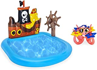 Inflatable Baby Pool Float Raft, Inflatable Swim Pool Cruise Ship Shaped Thickened Ocean Ball Pool for Kids Garden Backyar...