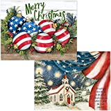 Patriotic Christmas Cards - 36 Cards and Envelopes (18 of Each Design) - American Flag Boxed Holiday Cards