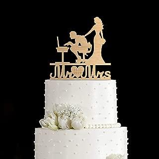 Cheyan Nerd Computer Cake Topper,Computer Programmer Topper,Nerd Computer Topper,Code Programmer Wedding Cake Topper,Coder Couple Cake Topper
