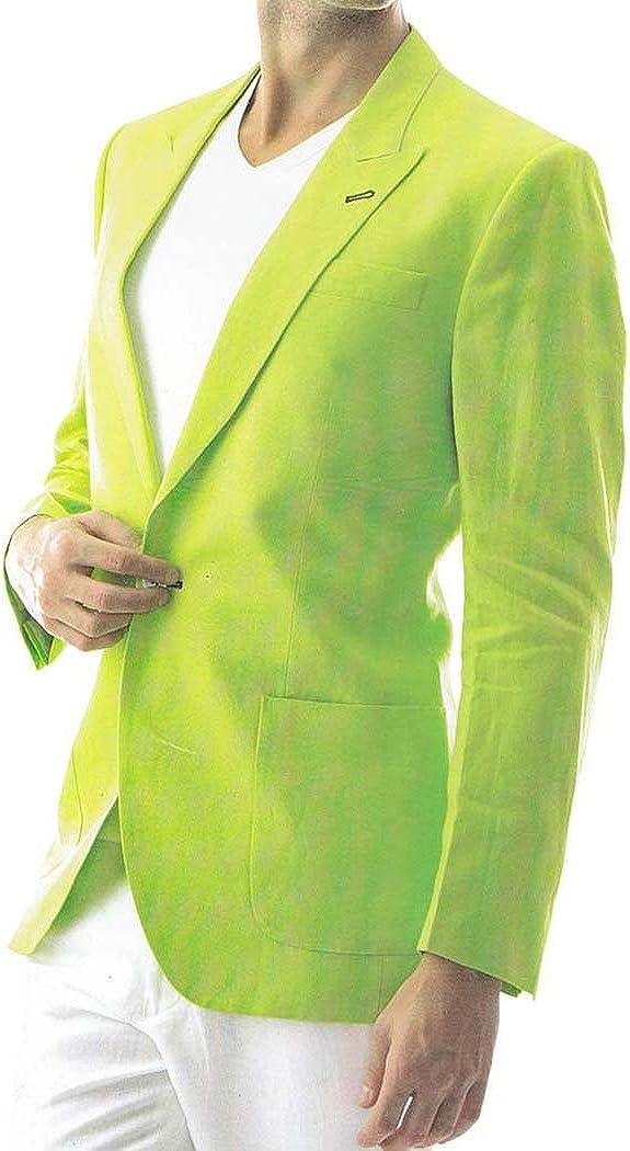 INMONARCH Mens Green Linen Blazer 2 Pc Suit One Button LS20