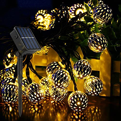 HeiHeiDa Solar Moroccan Round String Lights, Outdoor Garden Lights Solar/USB Powered, 7m 50 LEDs Crystal Ball Decorative Light for Tree, Patio, Yard, Wedding, Party, Indoor/Outdoor