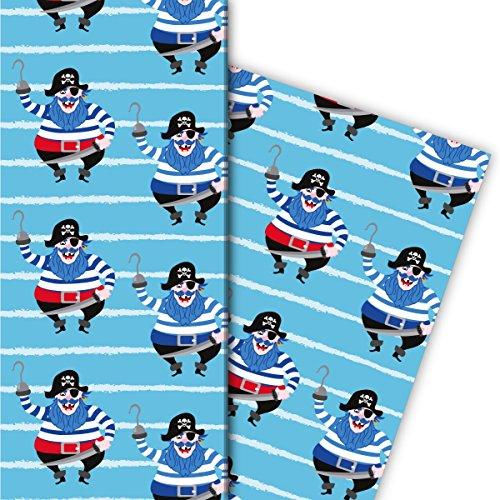Cooles Kinder Geschenkpapier Set (4 Bogen), Dekorpapier, Papier zum Einpacken mit Piraten auf Streifen, hellblau, für tolle Geschenk Verpackung und Überraschungen 32 x 48cm