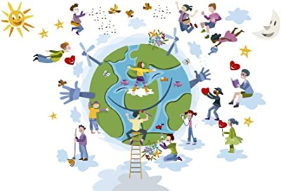 5 Ace Circle of Happy Children M Sticker Poster Save Earth Save Nature globar Warming Size:12x18 inch Multicolor