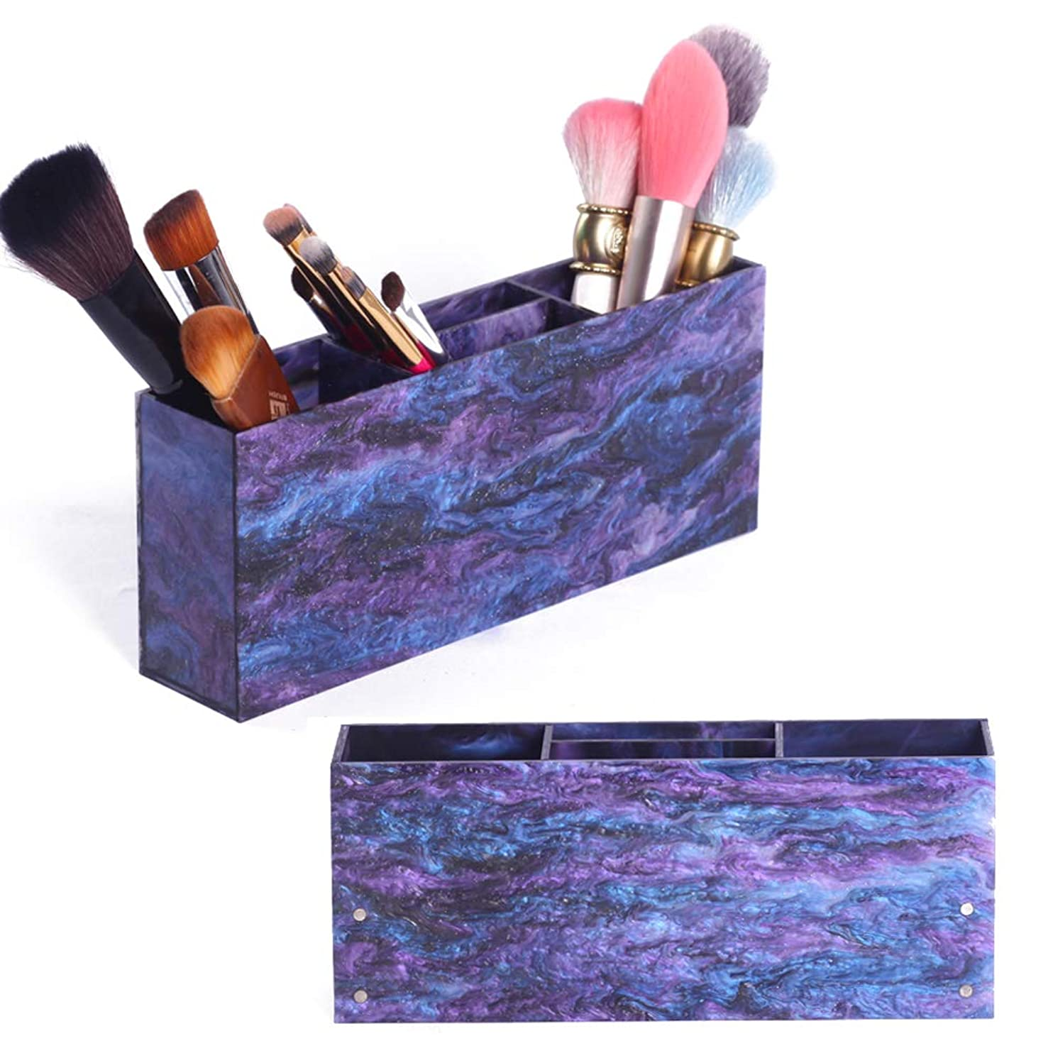 十一才能のある木材4つのスロット化粧ブラシホルダーと10の美しさスポンジ卵パフ姿勢、空気乾燥トレイ