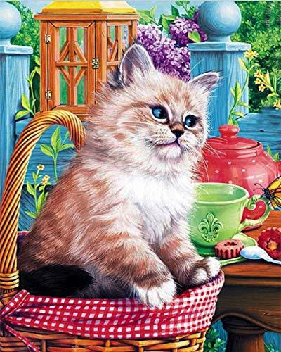 DIY 5D diamante pintura mosaico flor Animal gato 2 punto de cruz cristal diamantes de imitación bordado artesanía para adultos niños decoración del hogar regalo 40X50Cm
