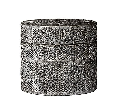Lene Bjerre Box Dose mit Deckel 'Hilde' Aufbewahrung antik-Silber Metall Boho Ethno Vintage
