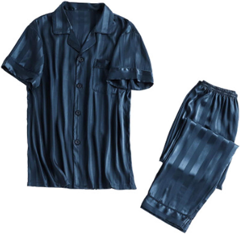 Men'S Sleeve Cotton Shirt And Pants Pajamas Pjs Sleepwear Lounge Set Blue Xxl