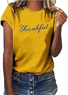 Womens SADUORHAPPY Thankful Printed T-Shirt Casual Thanksgiving Christian Short Sleeve/Long Sleeve Tee Tops