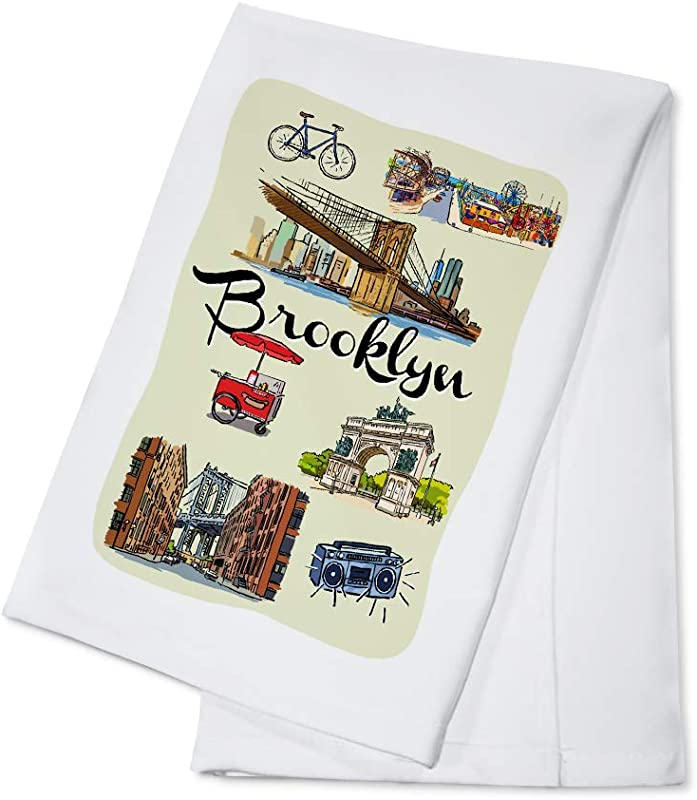 Brooklyn New York Landmarks And Icons 100 Cotton Kitchen Towel