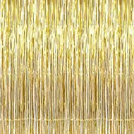 SYNUO 1pc Gold Flashing Streamer Metallic Tinsel Foil Fringe Curtains 3.2 Ft X 6.6 Ft (1M X 2 M), for Mermaid Party Photo Background Wedding Decoration (Gold)