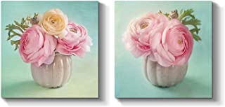 Pink Flower Canvas Wall Art: Floral Artwork Peony Prints Painting for Powder Rooms (12'' x 12'' x 2 Panels)