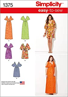 Simplicity 1375 Easy to Sew Women's Pullover Dress Sewing Patterns, Sizes XXS-XXL