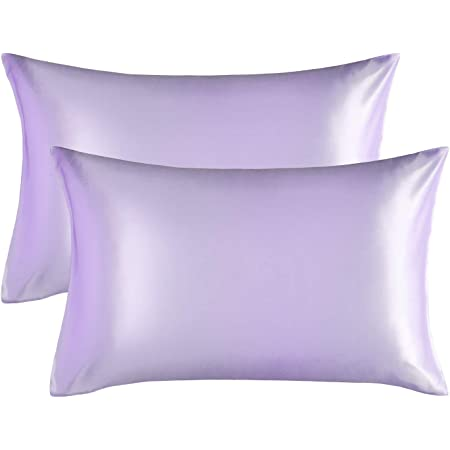 2 Pair Pillow Case Luxury Silk Satin Standard Twin Pillowcase Blue+Purple