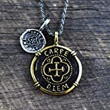 Carpe Diem Necklace Mens Necklace Mens Jewelry Carpe Diem Pendant Men's Necklace Mans Necklace Mens Silver Necklace Gold Necklace Mens Gold Necklace Boyfriend Gift Coin Necklace Gold Coin Necklace