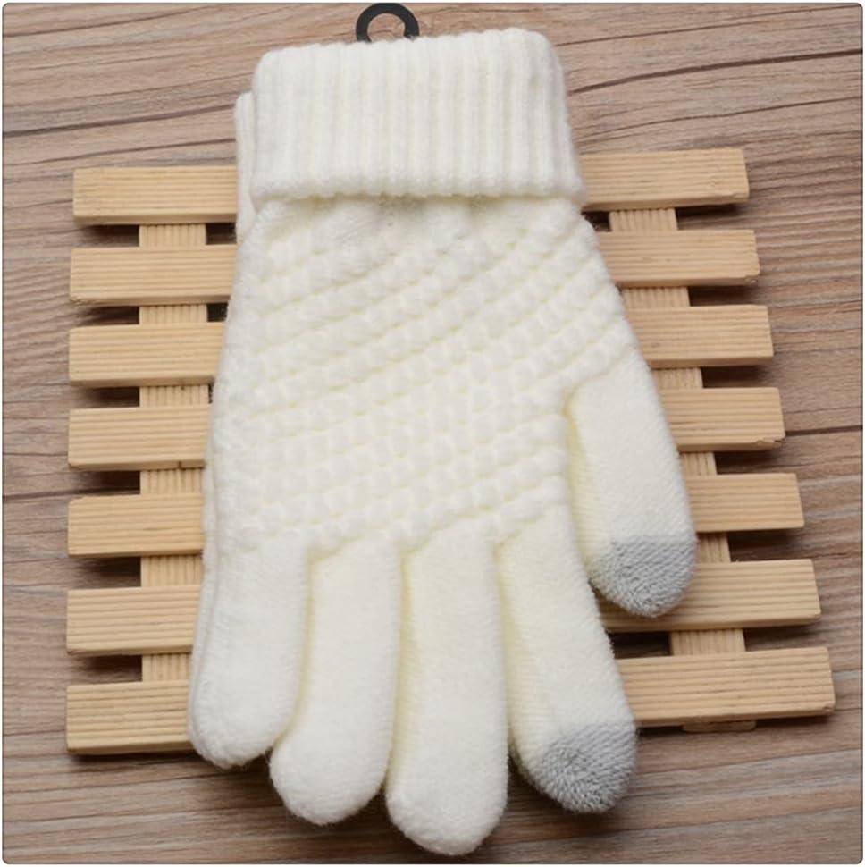 WBDL Winter Touch Screen Gloves Women Men Warm Stretch Knit Mittens Full Finger Female Crochet Thicken (Color : White)