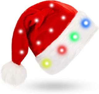 LED Santa Hat Blinking Color-Changing Light up LED Lights Christmas Hat for Adults and Children