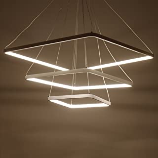 Baycher Exclusive Design Modern Square LED Chandelier Adjustable Hanging Light Tania Trio Collection Contemporary Ceiling Pendant Lamp,White (Size : Three head diameter 70+50+30cm)
