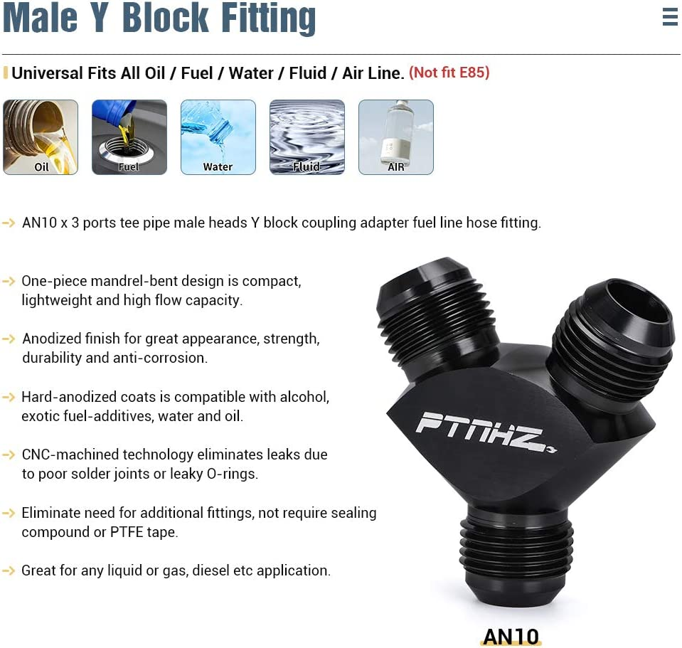 PTNHZ AN6 Male Heads Flare 3x 6AN Y Fuel Block Fitting Junction Coupler Adapter 6//6//6 AN Aluminum Black Anodized For Most Fluids