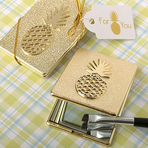 Pineapple Themed Warm Welcome Collection Gold Compact Mirror , 40