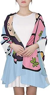Geisha linda de la historieta con la bufanda única de la moda del viaje de Japón para las mujeres Moda ligera Otoño Invierno Impresión de las bufandas Mantón Envuelve los regalos para el resorte temp